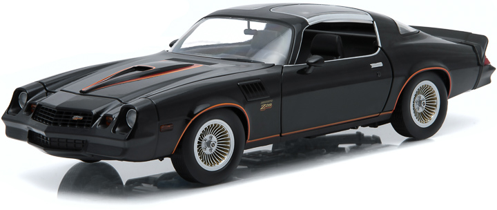 1:18 1978 Chevy Camaro Z/28 - Black with Orange Stripes & Black Interior (T-Tops Removed) - New Tool