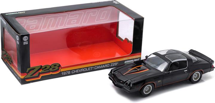 1:18 1978 Chevy Camaro Z/28 - Black with Orange Stripes & Black Interior (T-Tops Removed) - New Tool