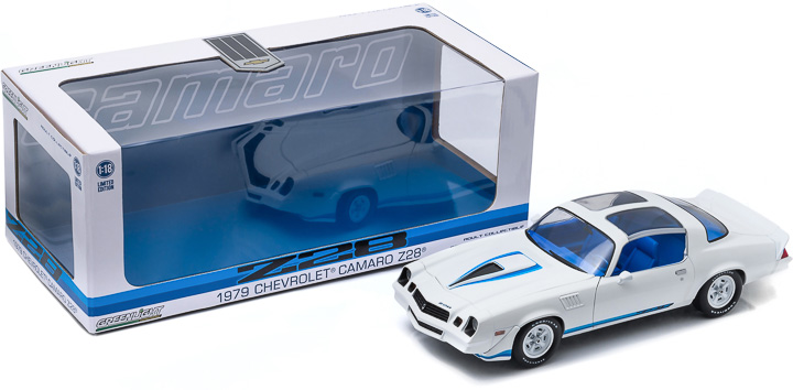 1:18 1979 Chevy Camaro Z/28 - White with Blue Stripes & Interior (T-Tops Removed) - New Tooling