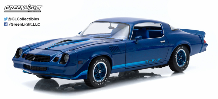 1:18 1979 Chevy Camaro Z/28 - Dark Blue Metallic with Blue Stripes with Blue Interior (Hardtop)