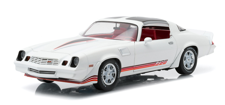 1:18 1981 Chevy Camaro Z/28 - White with Red Stripes and Carmine Interior (T-Tops Included)