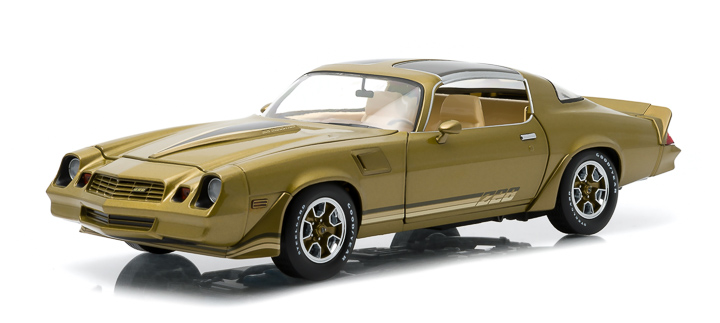 1:18 1981 Chevy Camaro Z/28 - Gold Metallic with Gold Stripes, Black Hood Stripes (T-Tops Included)