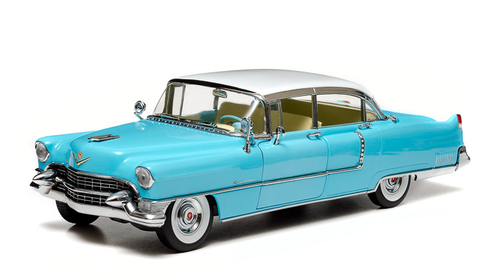 1:18 1955 Cadillac Fleetwood Series 60 - Blue with a White Roof