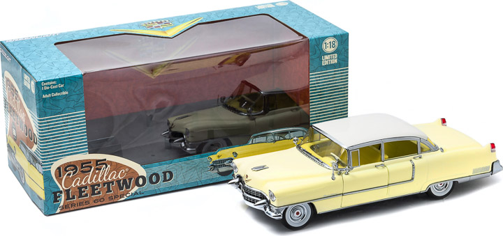 1:18 1955 Cadillac Fleetwood Series 60 - Yellow with a White Roof
