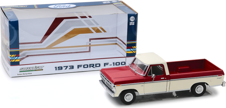 12962 - 1:18 1973 Ford F-100 - Red and White Two-Tone