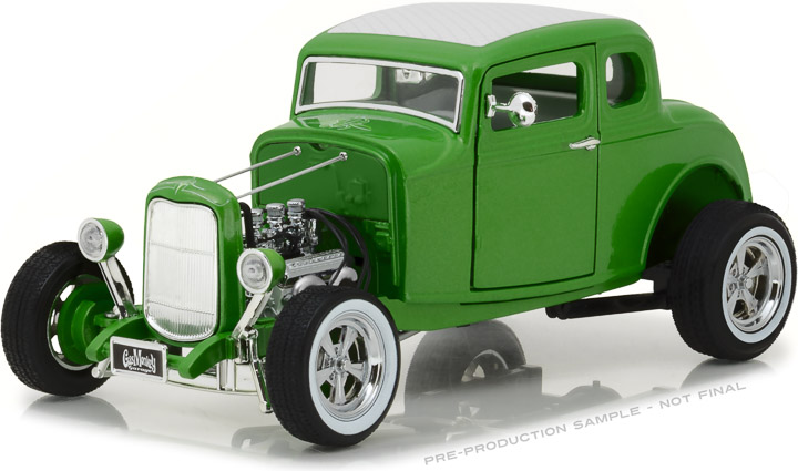 12974 - 1:18 Gas Monkey Garage (2012-Current TV Series) - 1932 Custom Ford Hot Rod - Metallic Green with Chrome 5-Spoke Wheels, Whitewall Tires