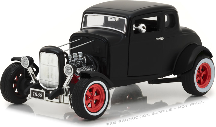 12975 - 1:18 1932 Custom Ford Hot Rod - Matte Black with Red 5-Spoke Wheels, Whitewall Tires