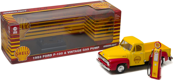 1:18 1953 Ford F-100 Shell Oil with Vintage Shell Gas Pump