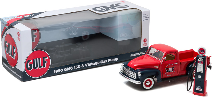 1:18 1950 GMC 150 Gulf Oil with Vintage Gulf Gas Pump