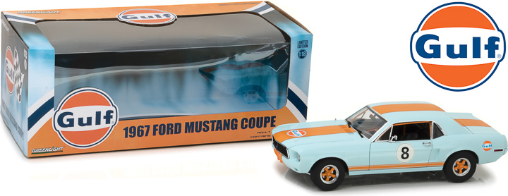 12989 - 1:18 1967 Ford Mustang Coupe Gulf Oil - Light Blue with Orange Stripes