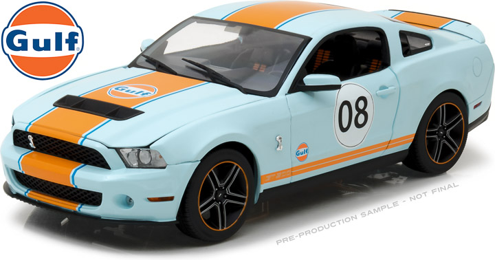 12990 - 1:18 2012 Shelby GT500 Gulf Oil - Light Blue with Orange Stripes