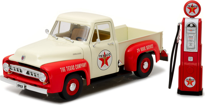 12991 - 1:18 1953 Ford F-100 Texaco with Vintage Texaco Gas Pump - 1953 Ford F-100 Texaco