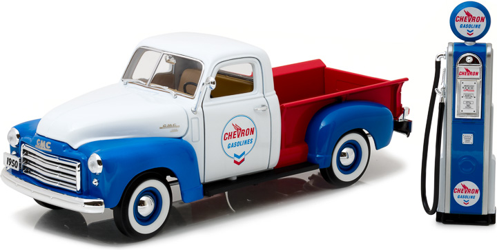 12992 - 1:18 1950 GMC 150 Chevron with Vintage Chevron Pump - 1950 GMC 150 Chevron