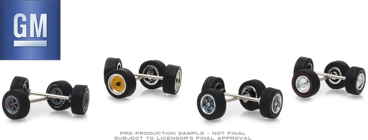 13167 - 1:64 General Motors Wheel & Tire Pack - 16 Wheels, 16 Tires, 8 Axles