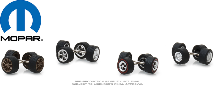 13168 - 1:64 MOPAR Wheel & Tire Pack - 16 Wheels, 16 Tires, 8 Axles