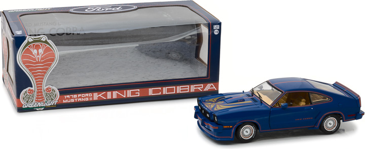 13507 - 1:18 1978 Ford Mustang II King Cobra - Blue, Red and Gold