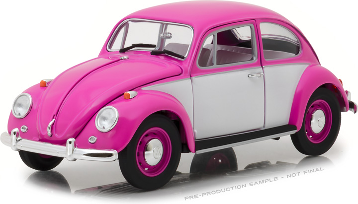 13512 - 1:18 1967 Volkswagen Beetle Right-Hand Drive - Pink & White