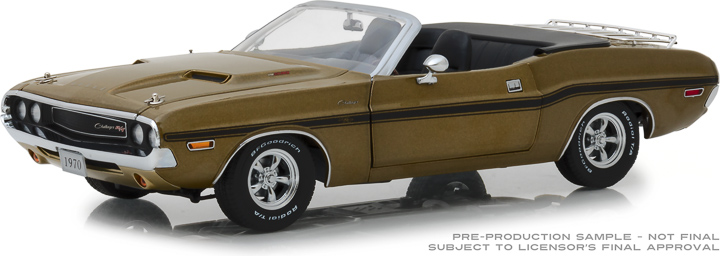 13527 - 1:18 1970 Dodge Challenger R/T Convertible with Luggage Rack - Y6 Gold Poly