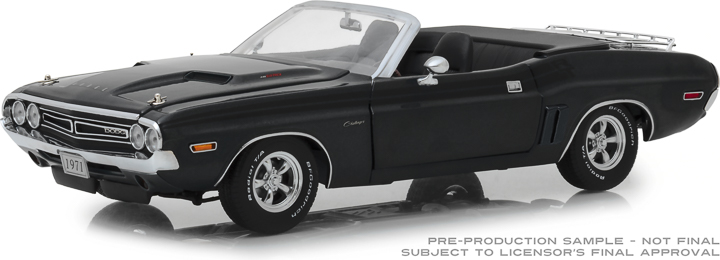 13528 - 1:18 1971 Dodge Challenger R/T Convertible with Luggage Rack - A8 Gunmetal Gray Poly