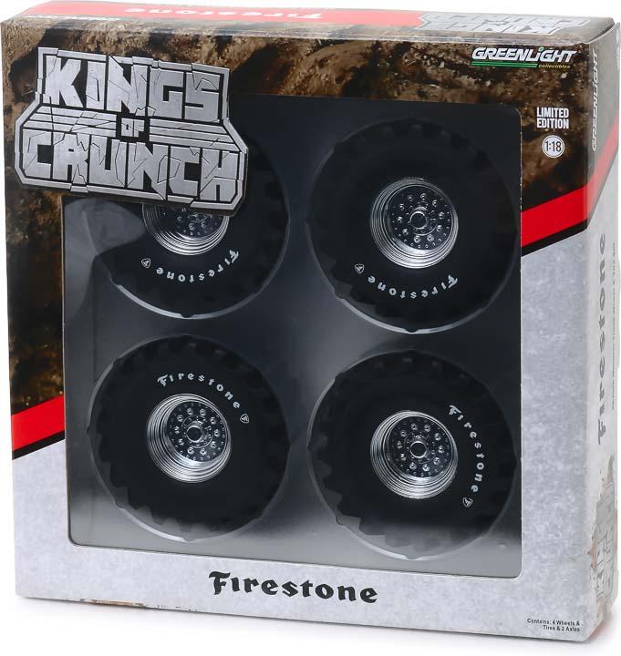 13546 - 1:18 Kings of Crunch - 48-Inch Monster Truck Firestone Wheel & Tire Set