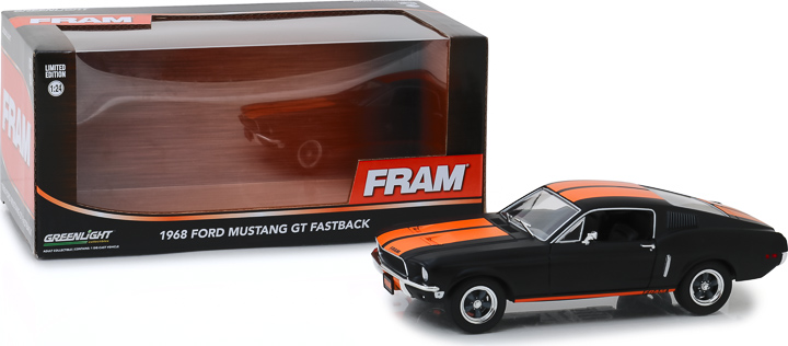 18253 - 1:24 1968 Ford Mustang GT Fastback - FRAM Oil Filters - Black with Orange Stripes