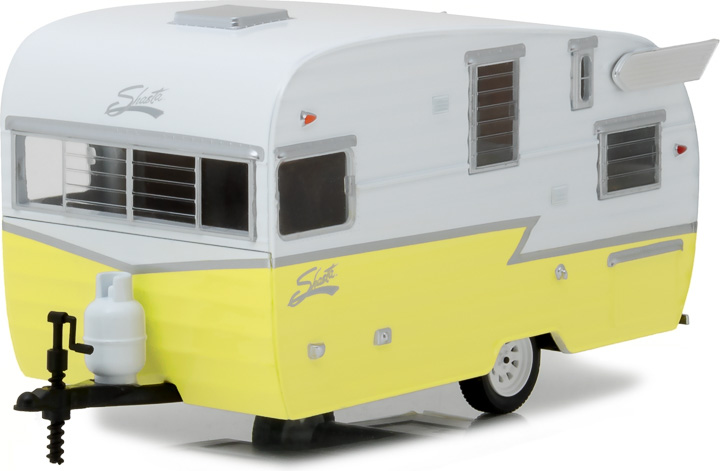 18410-A - 1:24 Hitch & Tow Series 1 - Shasta 15' Airflyte - Yellow with white