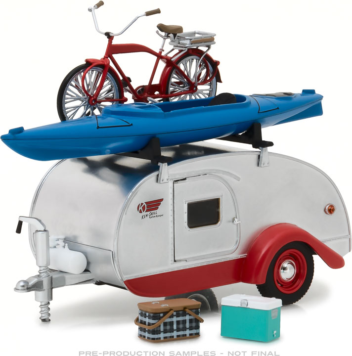 1:24 Hitch & Tow Trailers Series 4 - Teardrop Trailer in Silver with Red Trim, Roof Rack, Bicycle, Kayak, Cooler and Picnic Basket
