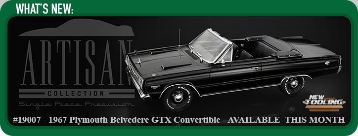 1:18 Artisan Collection - 1967 Plymouth Belvedere GTX Convertible - Black