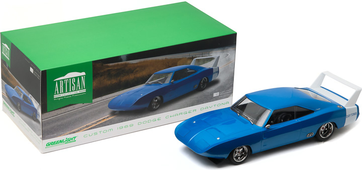 1:18 Artisan Collection - 1969 Dodge Charger Daytona Custom - Blue with White Rear Wing