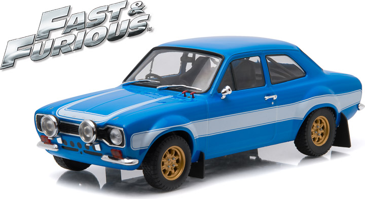 19038 - 1:18 Artisan Collection - Fast & Furious 6 (2013) 1974 Ford Escort RS2000 Mk1 - Blue w/White Stripes (Window Box)