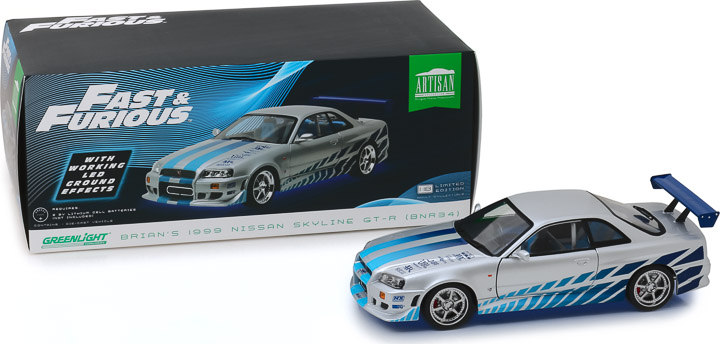 1:18 Artisan Collection - Fast & Furious - 2 Fast 2 Furious (2003) - 1999 Nissan Skyline GT-R (R34) Blue Neon LED Lights Version