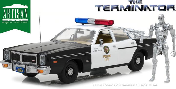19042 - 1:18 Artisan Collection - The Terminator (1984) - 1977 Dodge Monaco Metropolitan Police with 1:18 T-800 Endoskeleton Figure
