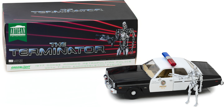 19042 - 1:18 Artisan Collection - The Terminator (1984) - 1977 Dodge Monaco Metropolitan Police with 1:18 T-800 Endoskeleton Figure