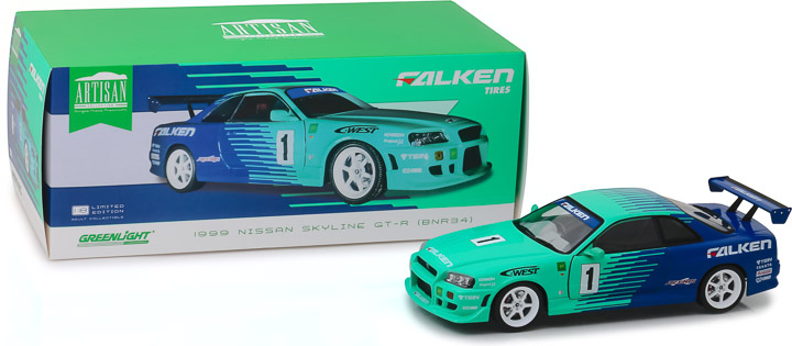 19050 - 1:18 Artisan Collection - 1999 Nissan Skyline GT-R (R34) #1 - Falken Tires