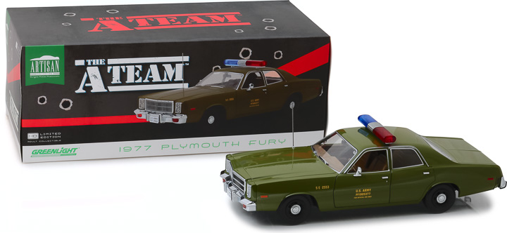 19053 - 1:18 Artisan Collection - The A-Team (1983-87 TV Series) - 1977 Plymouth Fury U.S. Army Police