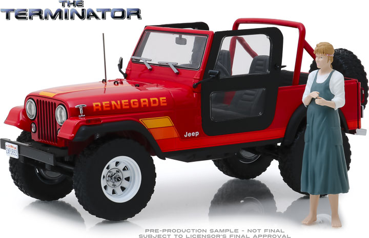 19060 - 1:18 Artisan Collection - The Terminator (1984) - Sarah Connor's 1983 Jeep CJ-7 Renegade with Sarah Connor Figure