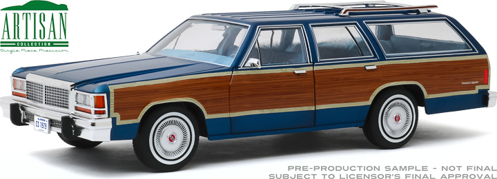 19063 - 1:18 Artisan Collection - 1979 Ford LTD Country Squire - Midnight Blue with Wood Grain Paneling