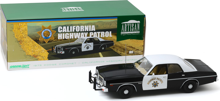 19075 - 1:18 Artisan Collection -1975 Dodge Coronet - California Highway Patrol