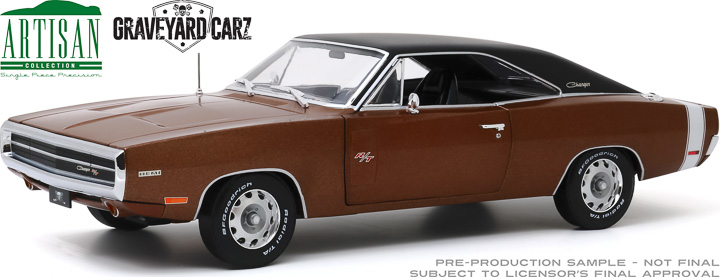 19077 - 1:18 Artisan Collection - Graveyard Carz (2012-Current TV Series) - 1970 Dodge Charger R/T - Dark Burnt Orange Poly with Black Roof