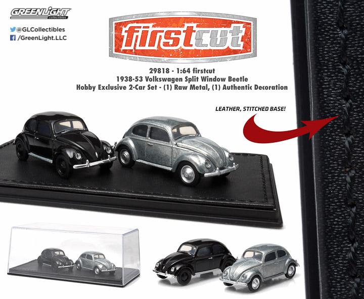 1938-53 Volkswagen Split Window Beetle 1:64 firstcut Hobby Exclusive 2-Car Set