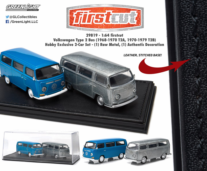 Volkswagen Type 2 Bus (1968-1970 T2A, 1970-1979 T2B) 1:64 firstcut Hobby Exclusive 2-Car Set