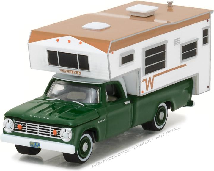 1-64 1967 Dodge D100 Long Bed with Winnebago Slide-In Camper