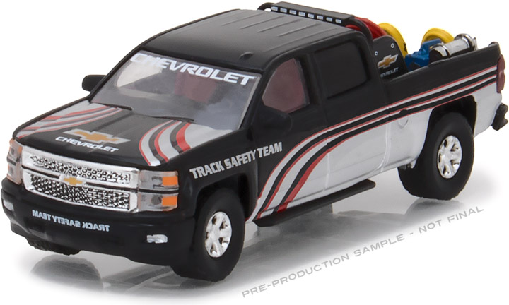 1:64 2015 Chevy Silverado in Black with Safety Equipment in Truck Bed