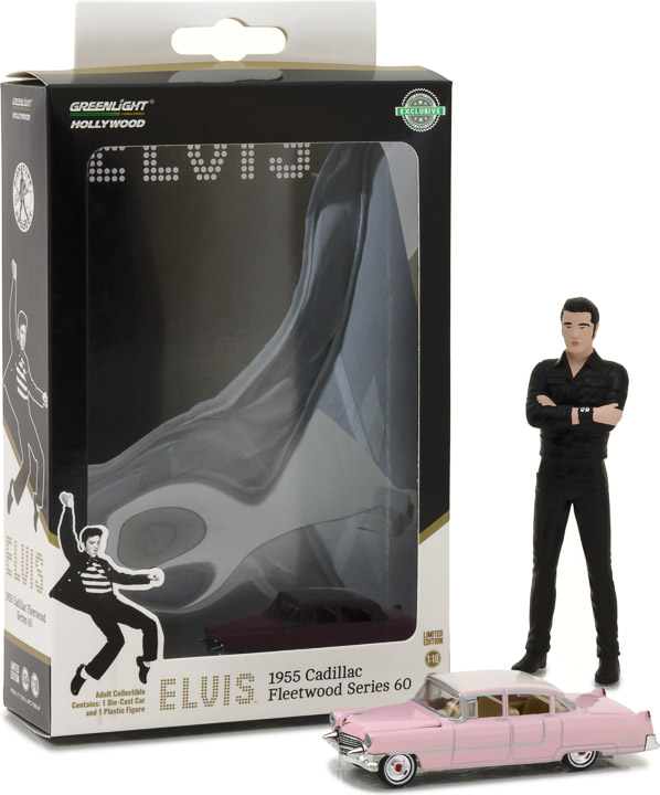 29898 - 1:64 Hollywood - Elvis Presley (1935-77) - 1955 Cadillac Fleetwood Series 60 Pink Cadillac with 1:18 Elvis figure