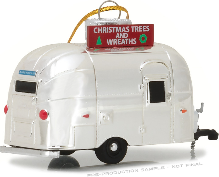 29915 - 1:64 Airstream 16' Bambi Holiday Ornament with Hook Ring Fresh Cut Christmas Trees