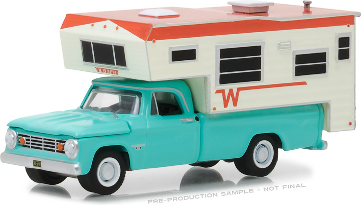 29923 - 1:64 1965 Dodge D-100 with Winnebago Slide-In Camper