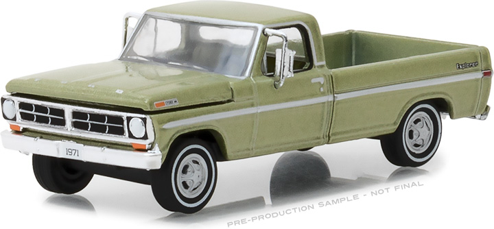 29968 - 1:64 1971 F-100 Explorer Special (Long Bed) - Lime Gold Metallic