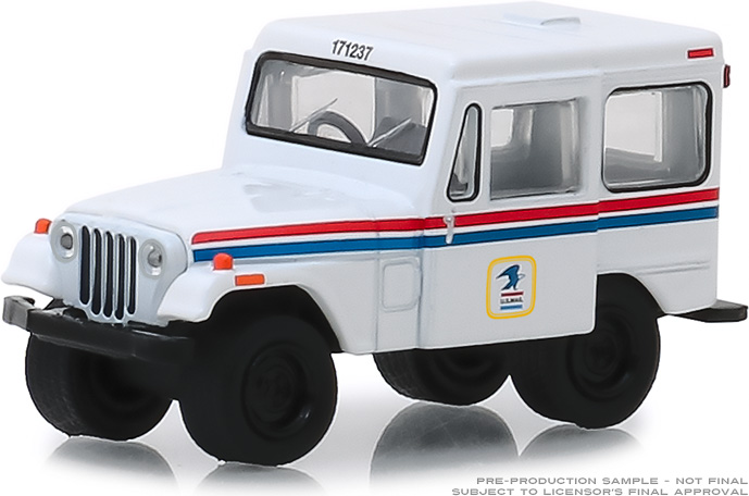 29997 - 1:64 1971 Jeep DJ-5 United States Postal Service (USPS) - White with Red and Blue Stripes