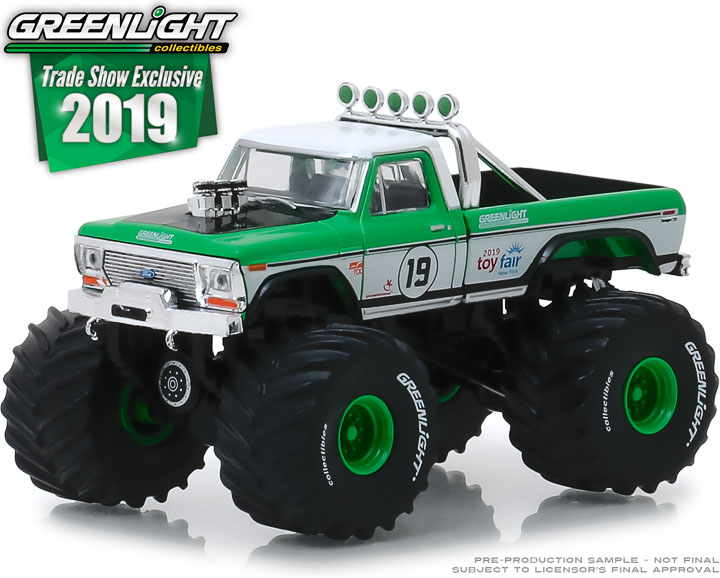 30006 - 1:64 1974 Ford F-250 Monster Truck - #19 GreenLight Racing Team - 2019 GreenLight Trade Show Exclusive