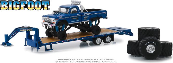 30054 - 1:64 Bigfoot #1 The Original Monster Truck (1979) - 1974 Ford F-250 Monster Truck on Gooseneck Trailer